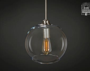 Pendant Light Fixture | Edison Bulb | Brushed Nickel | Pendant | Kitchen Light | Pendant Light |  Edison Light Bulb | Large Globe Shade