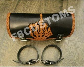 Hand Tooled Leather Tool Bag. Leather Fork Bag. Motorcycle Tool Bag. Harley Tool Bag