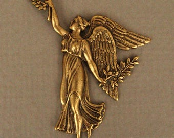 Vintage Rare Angel Oxidized Brass Stamping   Made In Paris