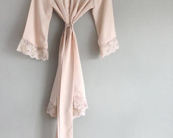 Soie Champagne. One ready-made robe in faux silk crepe Pink champagne silk lace robe Bridal robe. Dressing gown. Silk lingerie. US size 4-6.