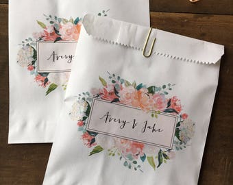 Wedding Favor Bags - Watercolor Floral - Calligraphy - Cookie Candy Treat Bag - Candy Bags - Candy Buffet Bags - 25 bags - Peach Blush Pink