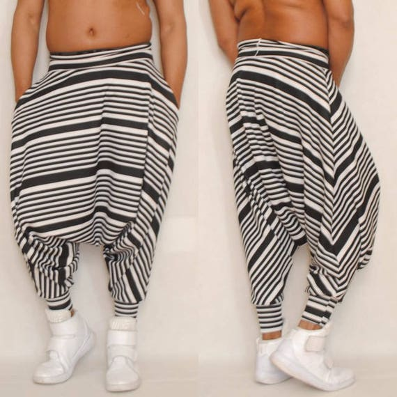 Dropped Crotch Draped Harem Pant Unisex Men's Women's Multi Strip Print