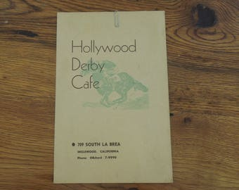 Vintage Menu 1940's Hollywood Derby Cafe Inglewood California Daily Special from July 4, 1943