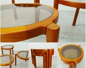 set of mid century Danish modern teak & tinted glass stacking nesting tables