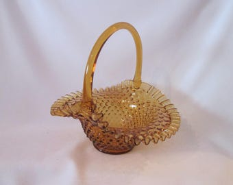 Blown amber glass fenton basket / Vintage fenton Glass amber flabbergasted basketball