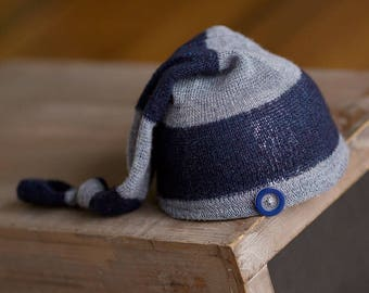 Upcycled Newborn Hat Blue Striped Stocking Cap Elf Hat READY TO SHIP Photography Prop, Newborn Boy Props, Newborn Boy Hat, Sleepy Time Hats