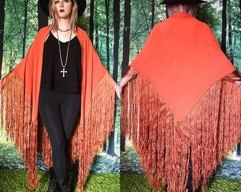 1920s Stevie Nicks Gatsby Huge Fringed Coral Silk Piano Shawl Duster