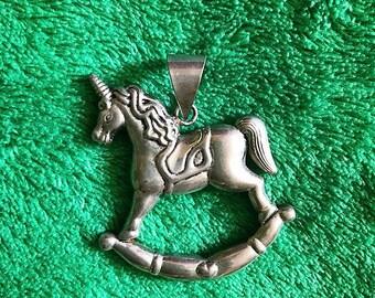 1970s RARE Kitsch UNICORN Rocking Horse Sterling Silver Pendant