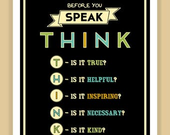 Before you speak THINK TYPOGRAPHY modern print poster