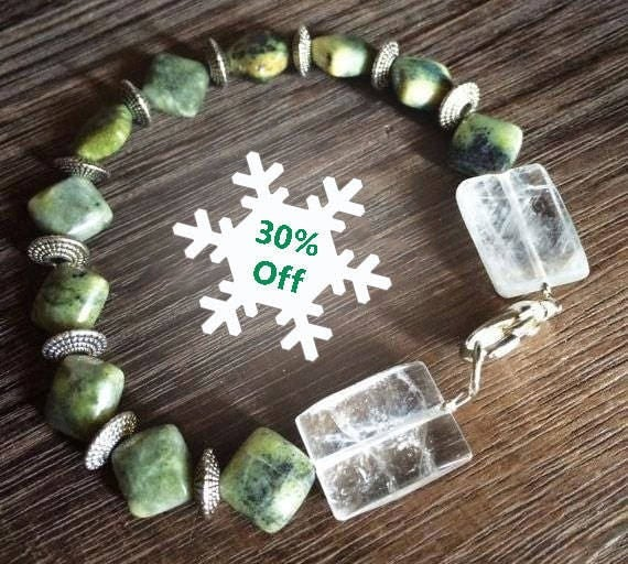 Chrysoprase Bracelet, Chrysoprase Jewelry, Clear Quartz, Bracelet, Green Bracelet, Green Jewelry, Stackable Bracelet, Handmade Jewelry