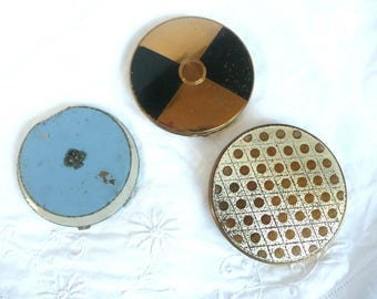 Three vintage compacts - Stratton Mascot and Rowenta compacts - vintage powder compacts - mid century compacts
