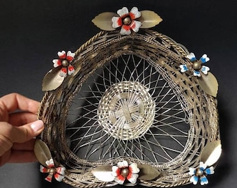 SALE Italian Metal Wire Basket Bread Basket Vintage Bowl with Flowers Silver Metal Heart Basket country chic gift for mom