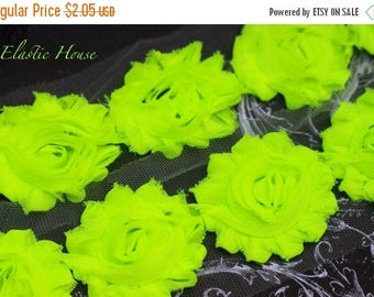 """Summer SALE 10% OFF 2.5"""" NEON Shabby Rose Trim - Lime Color - Neon Lime Shabby Rose Trim  Diy Headband/Hair Bow/Hair Clips Supplies"""