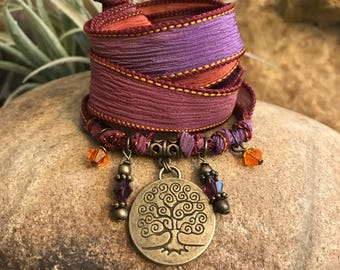 Tree of Life Silk Wrap Bracelet Yoga Jewelry Gypsy Soul Bat Mitzvah Ribbon Arm Band Necklace Great gifts for yoga enthusiasts