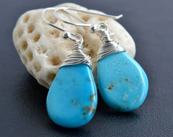 Turquoise Earrings, Sterling Silver, Sleeping Beauty, Argentium Silver, Blue Natural Gemstone, Handmade, Wire Wrapped