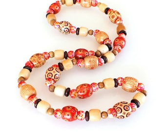 Wooden Beaded Single Strand Necklace