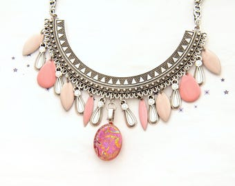fused glass enamel powder pink nude sequin bib Choker necklace