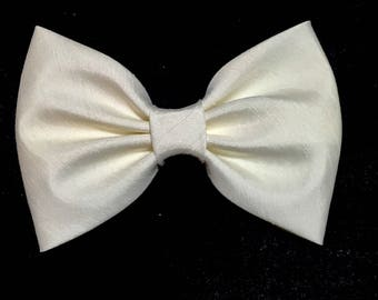 Ivory Hair Bow, Shantung Hair Bow, Girls Hairbow, Fabric Hair Bow, Baby Bows, Ivory Bow, Girl Accessories, Kawaii Ivory Bow, Bow Tie STG005