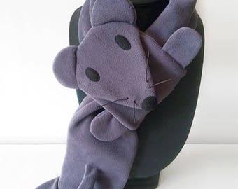 Tortoiseshell mouse fleece scarf