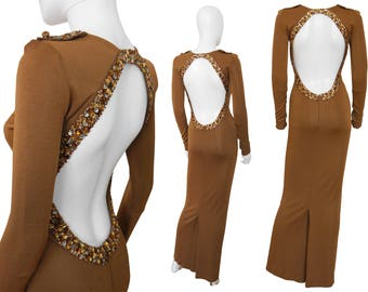 Jean Paul Gaultier Vintage Backless Evening Gown Maxi Dress Copper Brown Rhinestones US Size 4 XS