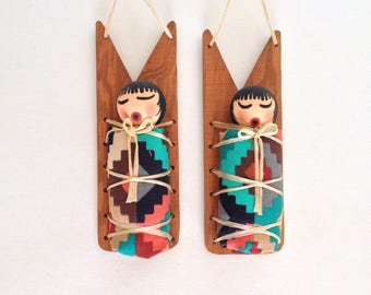Native American Indian Christmas Ornament, Hopi Colorful Southwest Decor, Baby on Papoose, Set of 2