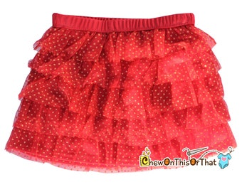 Christmas Red and Gold Dots Layered Tutu Skirt for Babies, Toddlers and Little Girls, Flared Ruffle with Satin Under Skirt Slip Lining