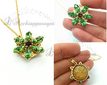 Anastasia Together In Paris Necklace - Miniature Anastasia cosplay - Once Upon a Dicember - Romanov - brass - flower - PERIDOT green