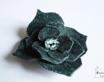 Mottled blue/green felt hydrangea flower hair clip