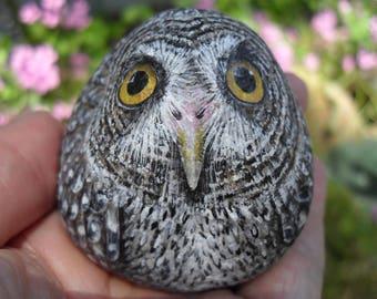 Free Standing Great Grey Owl Rock OOAK