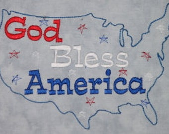 God Bless America Machine Embroidery Design