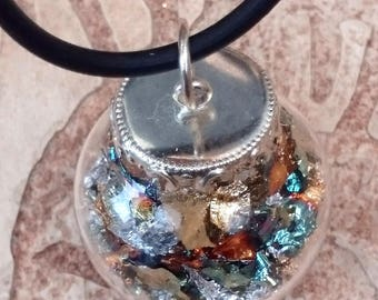 Glass Globe Pendant Necklace with Gilding flakes on Rubber thong/choker or Silver Plated chain.