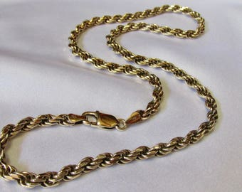 Heavy Gold Vermeil Sterling Silver Rope Chain 20 Inch Made in Italy Thick Heavy 4.5mm Rope Chain Smooth Strong 38 Grams