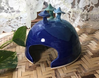 Porcelain Toad House in Blues and Green