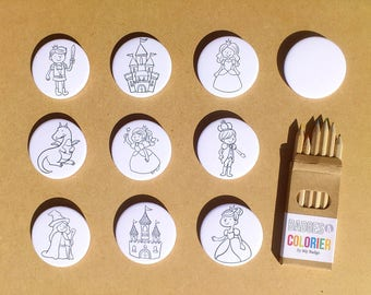 "Set of 10 badges coloring ""Princes and princesses"""