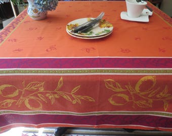 "Square Tablecloth, 64"" by 64"". Cotton Jacquard Teflon. Fabric from Provence, France . Big lemons in orange."