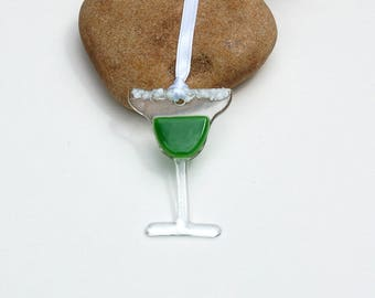 Fused Glass Margarita Ornament, Fused Glass Margarita Sun Catcher