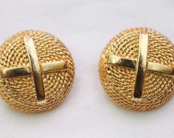 "80's Vintage ""DANIELLE"" Fancy Gold Detailed Clip-On Earrings"