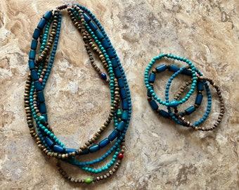 Multi Strand Necklace & Bracelet