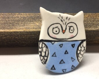 Ceramic Owl Brooch Funny Pin Brooch Brooch Pin For Her Fun Brooch for Wife Fun Lapel Pin Owl Gifts for Girls Owl Jewelry Owl Art Owl Pin