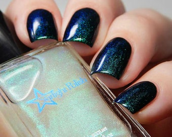 Kelpie Duochrome Color Shifting Top Coat Aqua to Violet Shimmer Indie Nail Lacquer Starlight and Sparkles Polish