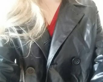 Plastic/leather look jacket