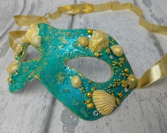 Mermaid mask, masquerade masks, masked ball mask, mermaid themed mask, mask with seashells, seagreen mask, gold and blue party mask, unique