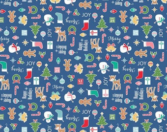 Cozy Christmas Fabric - Blue Print - Ornaments, Trees, Candy Canes - Lori Holt - Cotton Yardage - Quilting, Craft - Fat Quarter, By the Yard