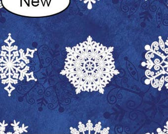 Christmas Fabric/Choose Maroon, Blue, Green/Snowflakes, Metallic/Cotton Material/Quilt, Craft/Fat Quarter, Half, By the Yard, Yardage