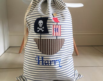 Personalised childrens laundry/storage bag with Pirate ship applique