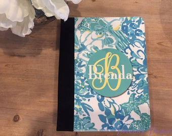 Brightly colored Floral portfolio with notepad, pen slot and pocket inside. Personalized notebooks school notebooks custom notebooks