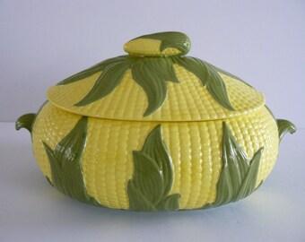 Corn Cob Casserole Dish, Tureen Hand Painted 1978, Picnic Dishes