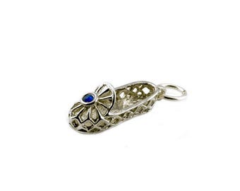 Sterling Silver Blue Jewelled Dancing Shoe Charm For Bracelets