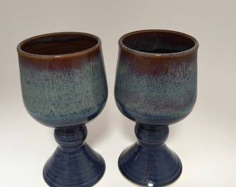 Navy Blue Brown and Cream Wine Goblets Set