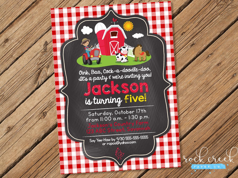 Gingham Farm Birthday Invitation, Farm Animals Invitation, Petting ...